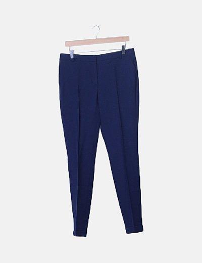 Pantalón pinzas texturizado azul marino