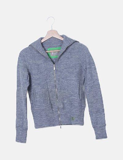 Chaqueta lana gris combinada