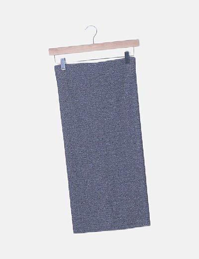Falda tubo gris jaspeada