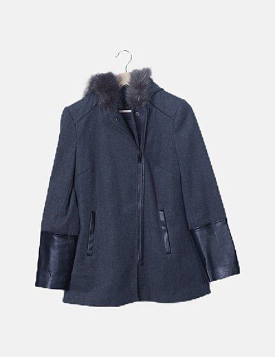Abrigo paño gris combinado