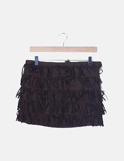 Falda marrón con flecos