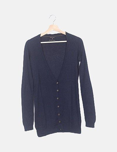 Chaqueta tricot azul marino con coderas