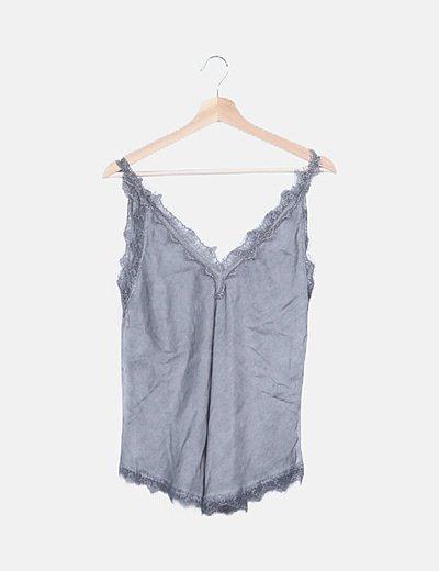 Blusa lencera gris