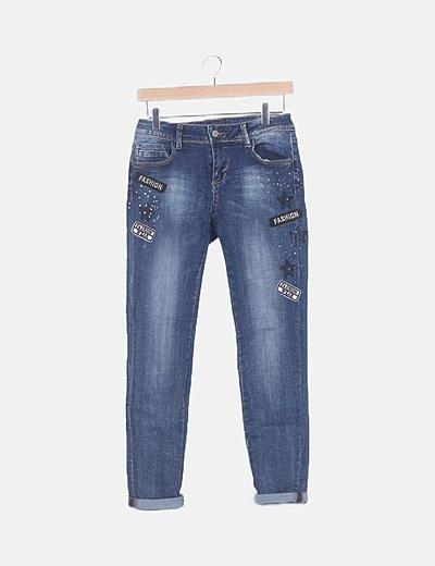 Jeans denim con strass