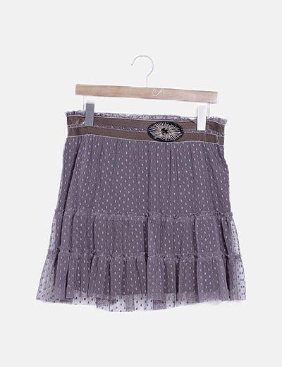 Mini falda marrón combinada detalle abalorios