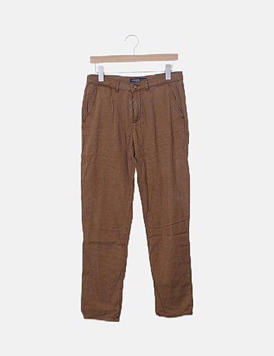 Pantalón marrón denim recto