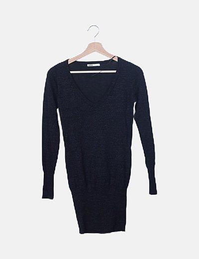 Vestido denim negro glitter
