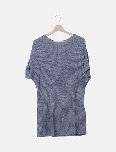 Vestido tricot gris manga corta