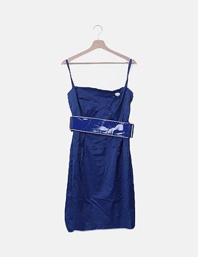 Vestido estructurado azul con cinturón