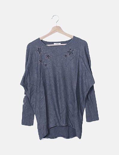 Jersey tricot gris marengo estampado