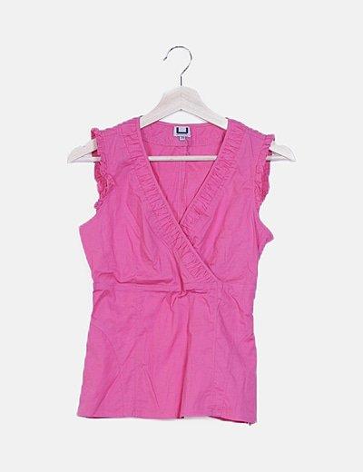 Blusa rosa escote V