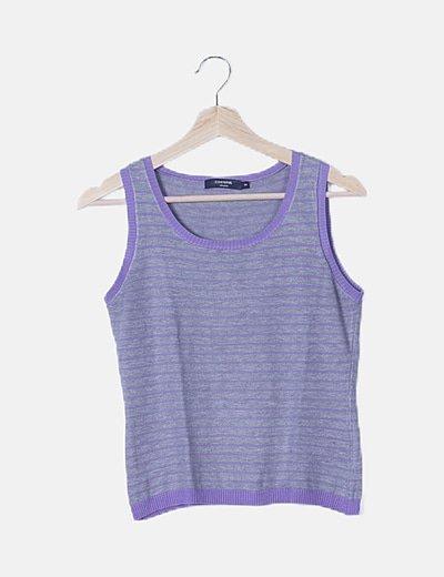 Camiseta sin mangas gris rayas moradas