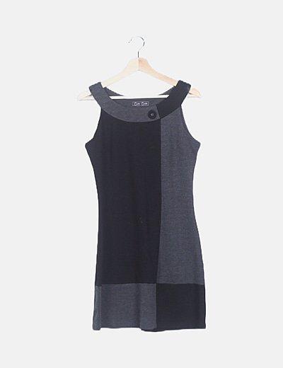 Vestido mini bicolor