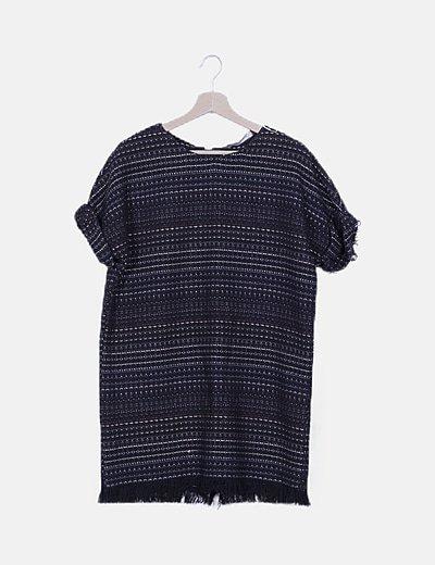 Vestido negro tricot de rayas