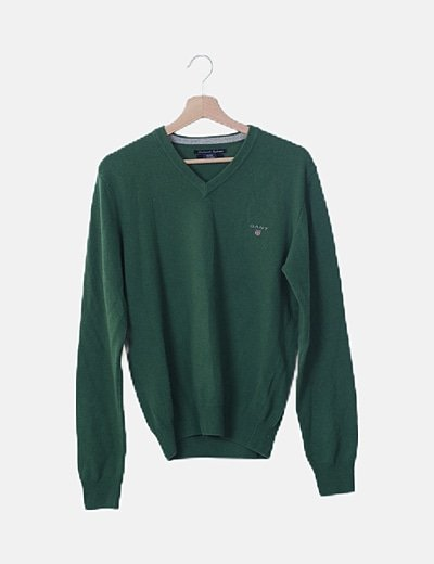 Jersey básico verde cuello pico