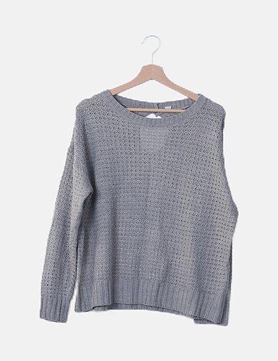 Jersey gris manga larga