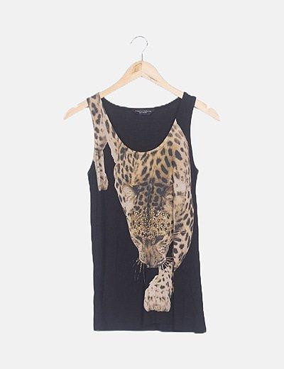 Camiseta negra sin mangas animal print