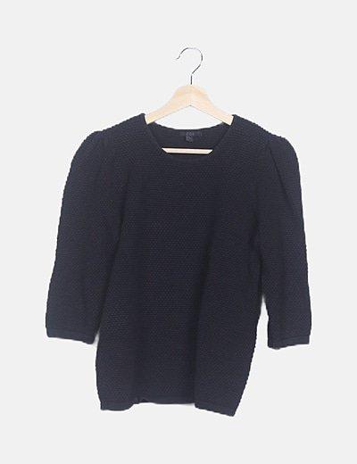 Jersey negro punto cuello redondo
