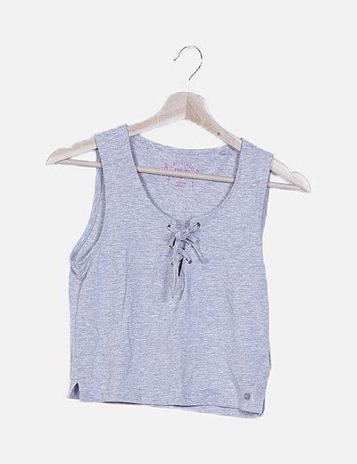 Camiseta lace up gris