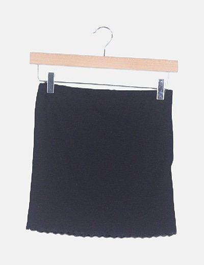 Falda canalé negra combinada