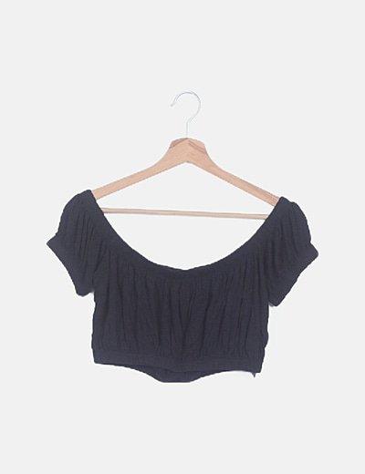 Camiseta bardot negra