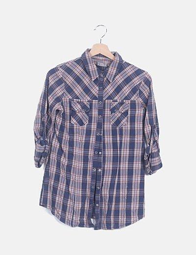 Camisa azul marino de cuadros