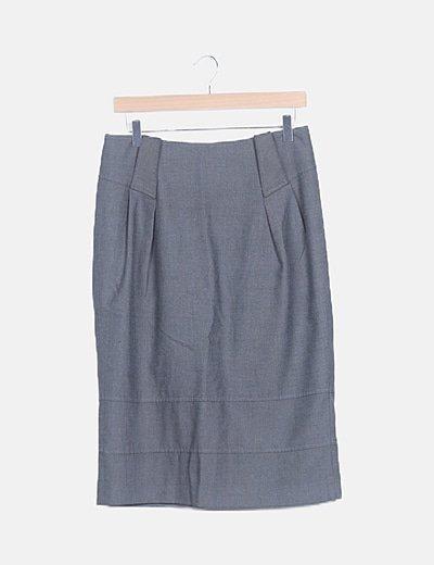 Falda midi espiga gris