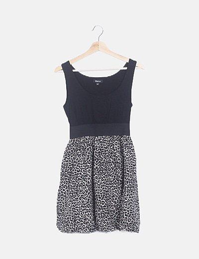Vestido combinado animal print