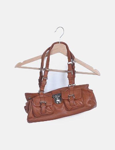 Bolso marrón con bolsillo