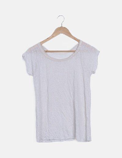 Camiseta blanca detalle paillettes