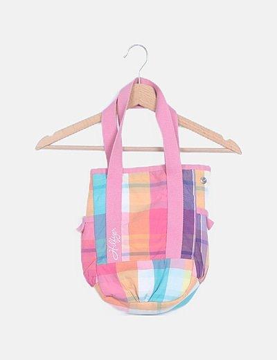 Bolso saco cuadros multicolor