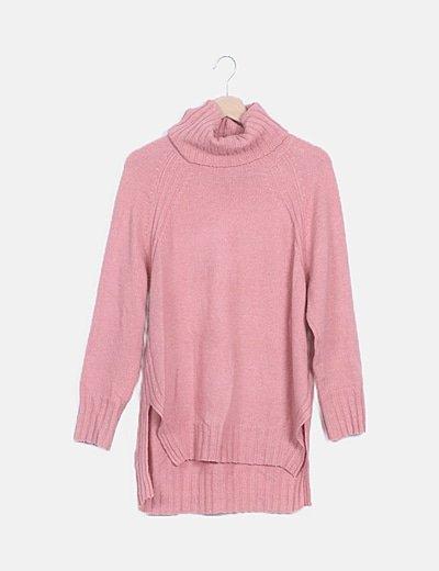 Jersey asimétrico rosa cuello alto