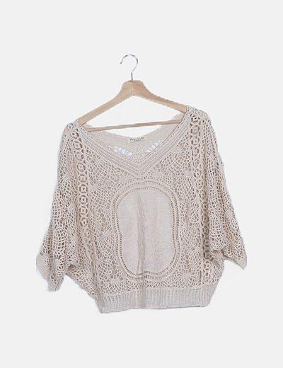 Jersey beige crochet