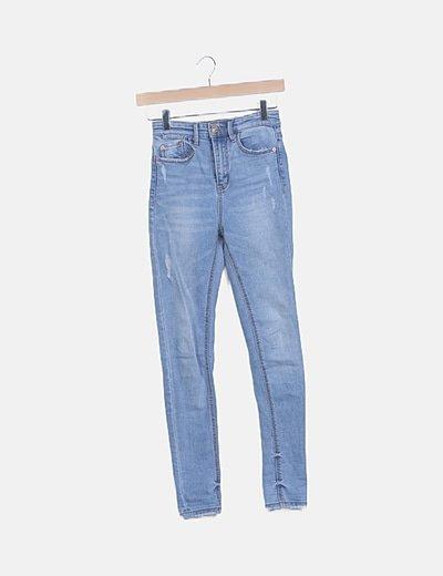 Jeans denim tiro alto