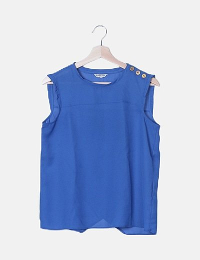 Blusa azul sin mangas detalle botones