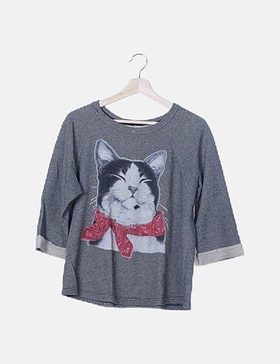 Jersey gris print cat
