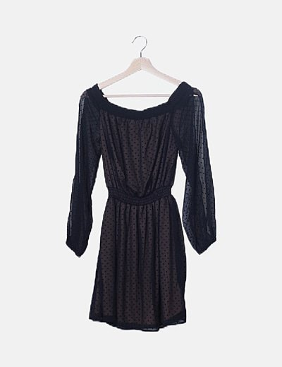 Vestido plumeti negro con elástico
