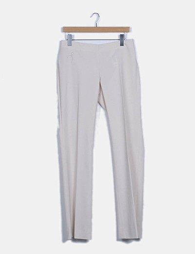 Pantalón de traje recto beige