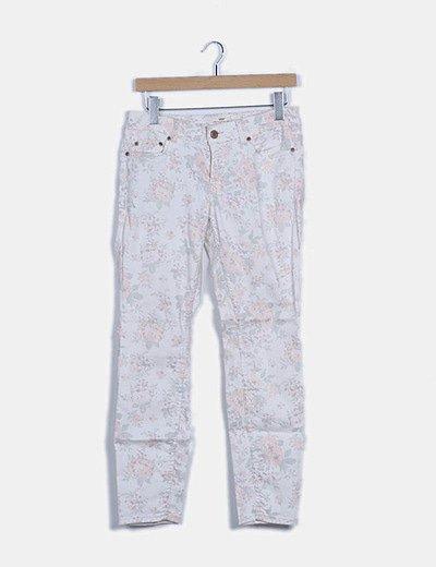 Jeans denim blanco floral pitillo
