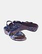 Sandalia polipiel azul detalle animal print Wonder