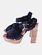 Sandalia de cuerda negra con tacón Bimba&Lola
