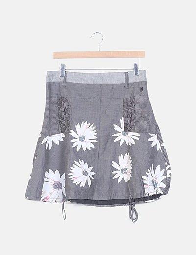 Falda gris estampada