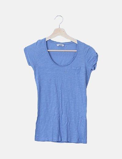 Camiseta básica azul jaspeada