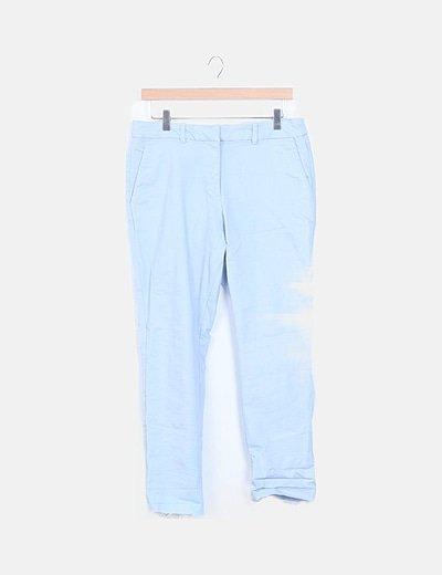 Pantalón chino azul desflecado