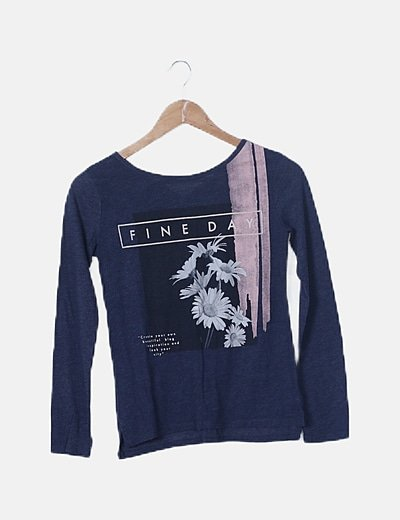 Camiseta azul marino print letras velvet