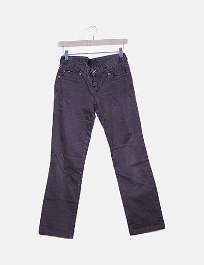 Pantalón marrón detalle strass