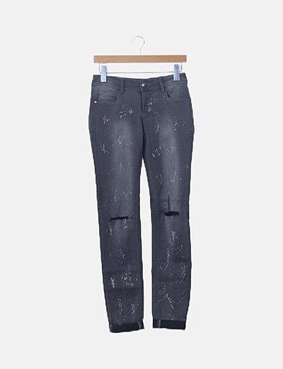 Jeans denim gris efecto moteado