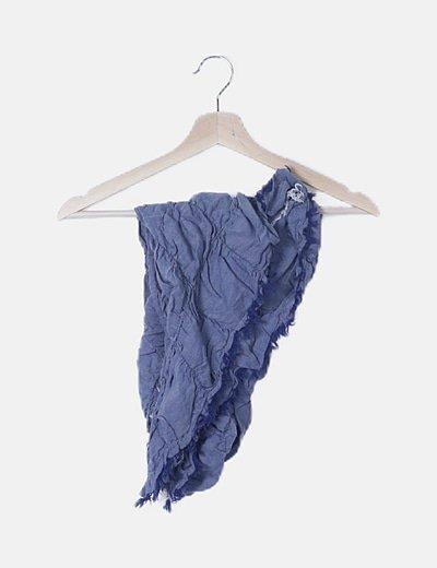 Pañuelo azul detalle flecos