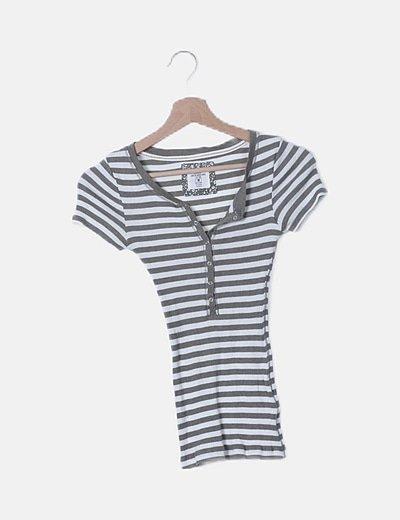Camiseta bicolor de rayas canalé