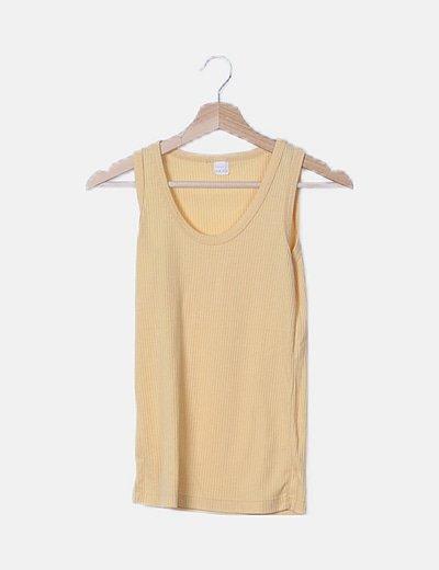 Camiseta amarilla canalé sin mangas